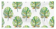 Tropical Leaves On White- Art By Linda Woods Beach Towel
