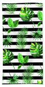 Tropical Leaves Pattern In Watercolor Style With Stripes Beach Towel