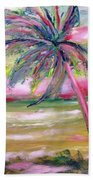 Tropical Sunset In Pink With Palm Tree Beach Towel