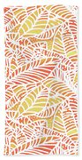 Tropical Sunset Leaves Beach Towel