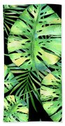 Tropics Noir, Tropical Monstera And Palm Leaves At Night Beach Towel