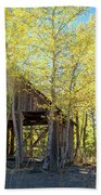 Truckee Shack Near Sunset During Early Autumn With Yellow And Green Leaves On The Trees Beach Towel