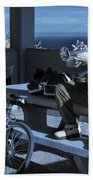 Trumpet Player Playing The Blues Fermin Point Los Angeles In Infrared Beach Towel