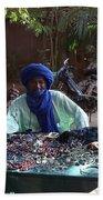 Tuareg Man Selling Jewelry Beach Towel