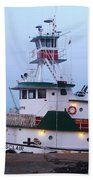 Tugboat At Twilight Beach Towel