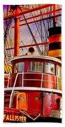 Tugboat Helen Mcallister Beach Towel by Chris Lord