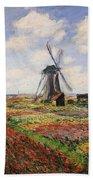 Tulip Fields With The Rijnsburg Windmill Beach Sheet