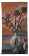 Tulip Flowers Bouquet In Two Round Water Filled Small Globe Shaped Vases On A Table Still Life Of Bo Beach Sheet
