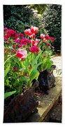 Tulips And Bench Beach Towel