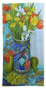 Tulips And Iris In A Japanese Vase, With Fruit And Textiles Beach Towel
