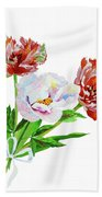 Tulips And Pink White Peony Beach Towel