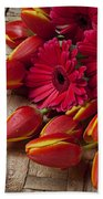 Tulips And Red Daisies  Beach Towel