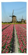 Tulips And Windmills In Holland Beach Towel