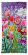 Tulips Are Magic In The Night Beach Towel