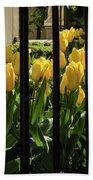 Tulips Behind Bars Beach Towel