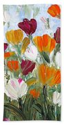 Tulips Garden Beach Towel