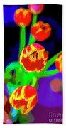 Tulips In Abstract Beach Towel