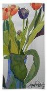 Tulips In Blue Vase Beach Sheet