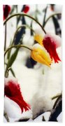 Tulips In The Snow Beach Towel