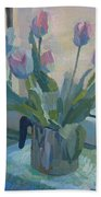 Tulips On A Window  Beach Towel