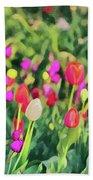 Tulips. Monet Style Digital Painting. Beach Towel