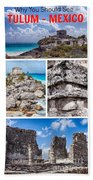 Tulum, Mexico Collage Beach Towel