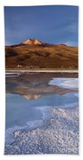 Tunupa Volcano Reflected In Salar De Uyuni At Twilight Bolivia Beach Towel