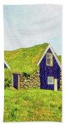 Turf Huts In Skaftafell Beach Sheet