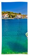 Turquoise Beach And Boat In Rogoznica Beach Towel
