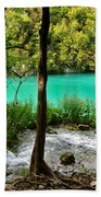 Turquoise Waters Of Milanovac Lake Beach Towel