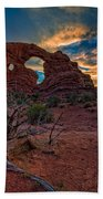 Turret Arch At Sunset Beach Towel