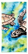 Turtle Love Pair Of Sea Turtles Beach Towel