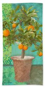 Tuscan Orange Topiary - Damask Pattern 2 Beach Towel