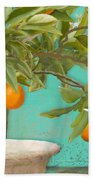 Tuscan Orange Topiary - Damask Pattern 3 Beach Towel