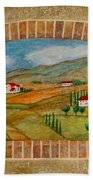 Tuscan Scene Brick Window Beach Towel