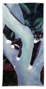 Tuxedo Cat In Mimosa Tree Beach Towel by Karen Zuk Rosenblatt