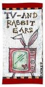 Tv And Rabbit Ears Beach Sheet