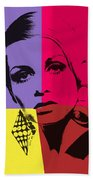 Twiggy Pop Art 1 Beach Towel
