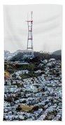 Twin Peaks In San Francisco Aerial Photo Beach Towel