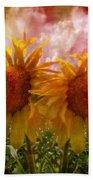 Twin Sunflowers Beach Towel