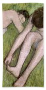 Two Bathers On The Grass Beach Towel