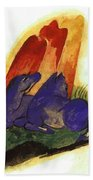 Two Blue Horses In Front Of A Red Roc 1913 Beach Towel