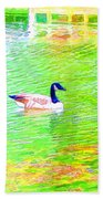 Two Canadian Geese In The Water Beach Towel