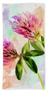 Two Clover Flowers With Pastel Shades. Beach Sheet