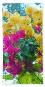 Two Color Flowers Beach Towel