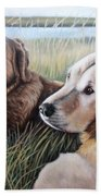 Two Golden Retriever Beach Towel