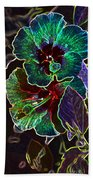 Two Hibiscus Glowing Edges Abstract Beach Towel