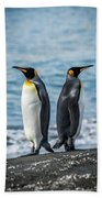 Two King Penguins Facing In Opposite Directions Beach Towel