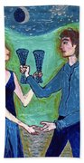 Two Of Cups Illustrated Beach Towel