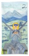 Two Of Swords Illustrated Beach Towel